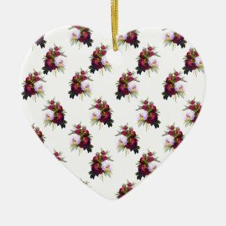 Joli motif de pivoines ornement cœur en céramique