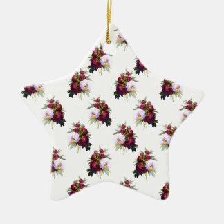Joli motif de pivoines ornement étoile en céramique