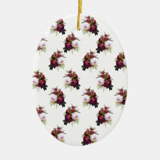Joli motif de pivoines ornement ovale en céramique