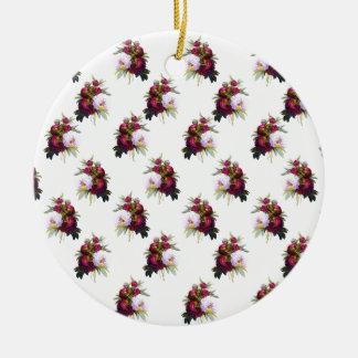 Joli motif de pivoines ornement rond en céramique