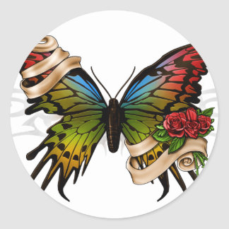 Joli papillon adhésif rond