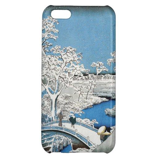 Joli pont asiatique vintage de neige de scène d'hi étui iPhone 5C
