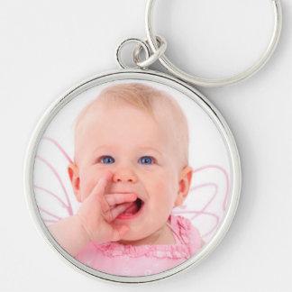 Joli porte - clé de photo de bébé porte-clé rond argenté