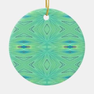 Joli ressort vert en bon état de pastel d'Aqua Ornement Rond En Céramique
