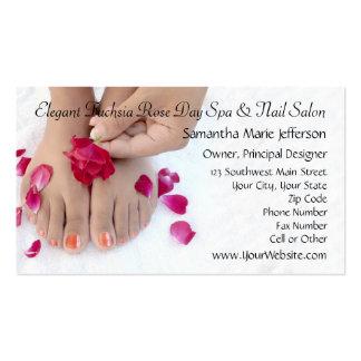 Joli salon fuchsia de pédicurie de rose de rose modèle de carte de visite