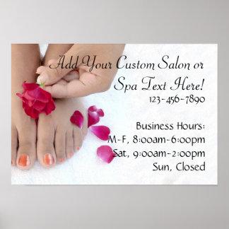 Joli salon fuchsia de pédicurie de rose de rose posters