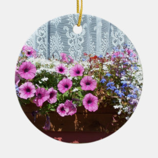 Jolie boîte de fleur ornement rond en céramique