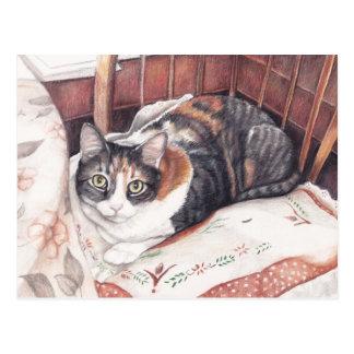 Jolie carte postale se reposante d'art de chat de