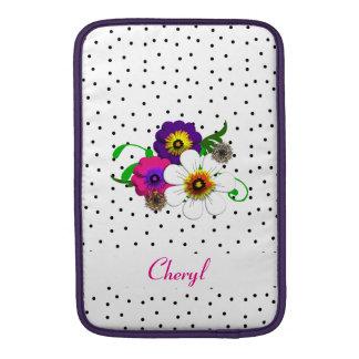 Jolie conception de fleur et de taches poches macbook air