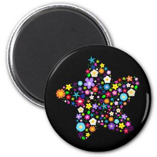 Jolie étoile de fleur magnet rond 8 cm