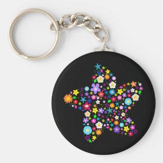 Jolie étoile de fleur porte-clé rond