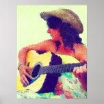 Jolie fille dans le chapeau de pays avec la guitar poster