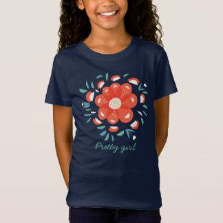 Jolie fille de fleur rouge décorative lunatique T-Shirt
