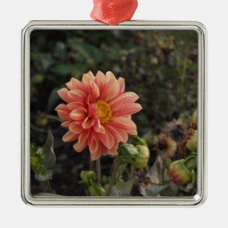 Jolie fleur ornement carré argenté