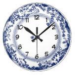 jolie horloge bleue vintage de plat de Delft