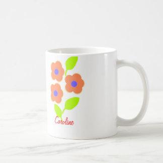 Jolie tasse de fleur avec le nom