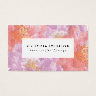 Jolies fleurs d'aquarelle des pivoines   cartes de visite