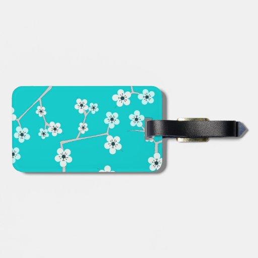 jolies fleurs de cerisier bleu de turquoise tiquettes de bagage zazzle. Black Bedroom Furniture Sets. Home Design Ideas