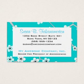 Jolies fleurs de cerisier - bleu de turquoise cartes de visite