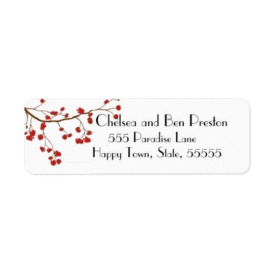 Jolies fleurs de fleurs de cerisier étiquette d'adresse retour