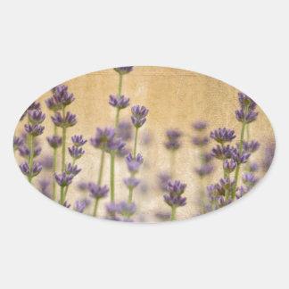 Jolies fleurs de lavande sticker ovale