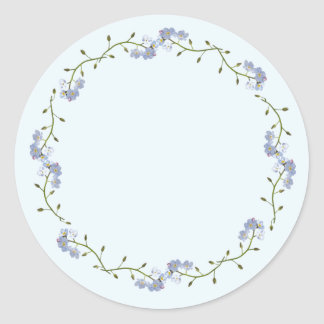 jolies fleurs de myosotis sticker rond