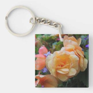 Jolies fleurs porte-clé carré en acrylique une face