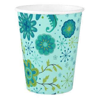 Jolies fleurs turquoises gobelets en papier