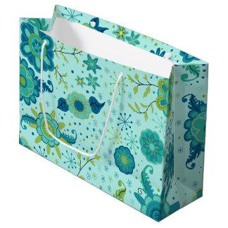 Jolies fleurs turquoises grand sac cadeau