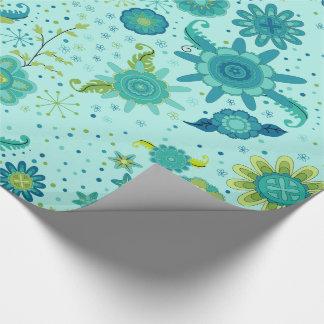 Jolies fleurs turquoises papier cadeau