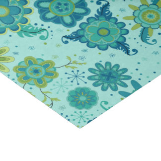 Jolies fleurs turquoises papier mousseline