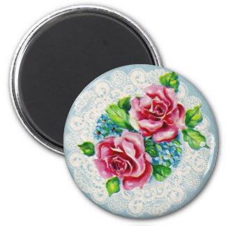 Jolies fleurs vintages magnet rond 8 cm