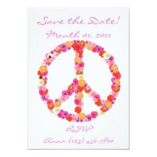 Jolies invitations de signe de paix de fleur