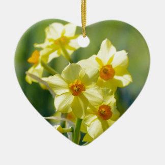 Jolies jonquilles, narcisse 03,3 ornement cœur en céramique