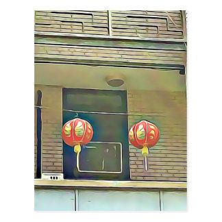 Jolies lanternes Chinatown de rue en carte postale