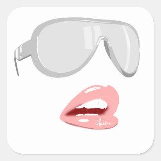 Jolies nuances et lèvres sticker carré