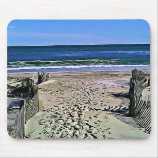 Jolis ressacs de tapis de souris de photo de plage