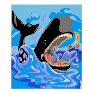 Jonas dans l'affiche de baleine affiche
