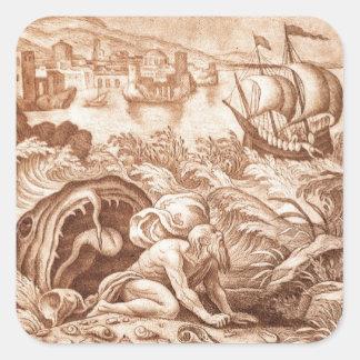 Jonas et la baleine, illustration d'une bible, en sticker carré
