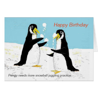 Jonglerie de boule de neige de pingouin de Pengy. Cartes