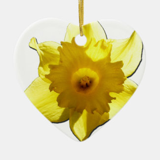 Jonquille 1,0 de trompette jaune ornement cœur en céramique