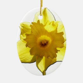 Jonquille 1,0 de trompette jaune ornement ovale en céramique