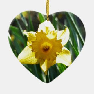 Jonquille jaune 03.0.g ornement cœur en céramique