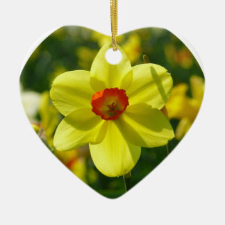 Jonquille jaune-orange 02.0_rd ornement cœur en céramique