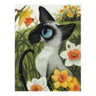 Jonquilles de ressort de Pâques de chat siamois Carte Postale