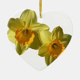 Jonquilles jaunes 2.2.2.f ornement cœur en céramique