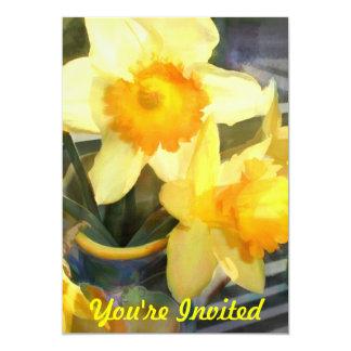 Jonquilles jaunes rétro-éclairées faire-part personnalisé