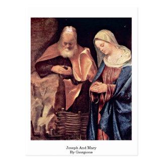 Joseph et Mary par Giorgione Carte Postale