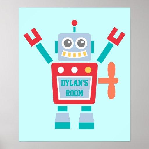 Jouet coloré mignon vintage de robot pour la pièce affiche