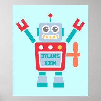 Jouet coloré mignon vintage de robot pour la pièce posters